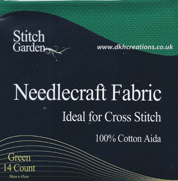 Stitch Garden  Green 14 Count Aida Fabric